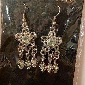 LA FEMME NY EAR RINGS DANGLES GREEN STARS DESIGN